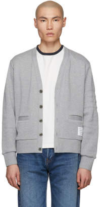 Thom Browne Grey Pique 4-Bar Cardigan
