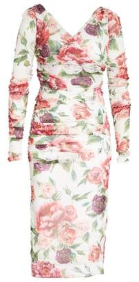 Dolce & Gabbana Peony & Rose Print Stretch Silk Dress