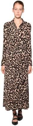 Baum und Pferdgarten Leopard Print Crepe Long Dress