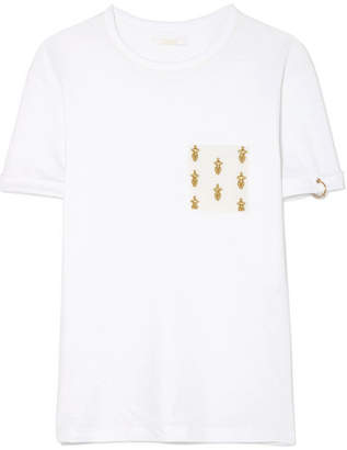 Chloé International Women's Day Embroidered Cotton-jersey T-shirt - White