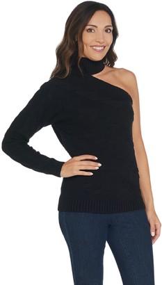 G.I.L.I. Got It Love It G.I.L.I. One Shoulder Cable Knit Sweater