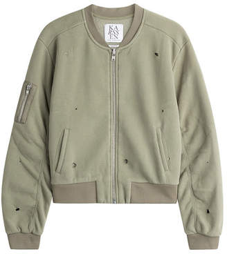 Zoe Karssen Distressed Cotton-Blend Bomber Jacket