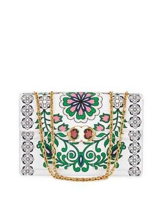 Tory Burch Gemini Link Garden-Print Chain Crossbody Bag $625 thestylecure.com