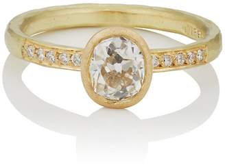 Malcolm Betts Women's Oval White Diamond Ring