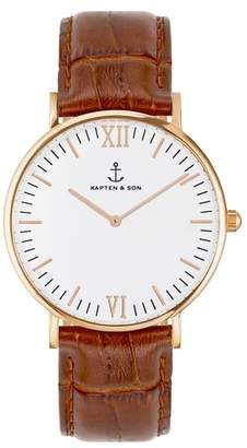 KAPTEN & SON Campina Leather Strap Watch, 36mm