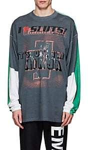 Vetements Men's Colorblocked Cotton Oversized T-Shirt - Gray