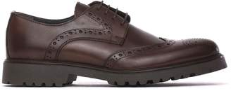 Pollini Lace-up In Brown Calf Leather