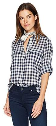 William Rast Women's Dalila Roll Tab Sleeve Shirt with Bandana