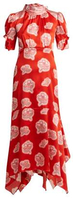 Peter Pilotto Graphic Floral Print High Neck Silk Dress - Womens - Red