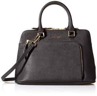 Calvin Klein Hudson Saffiano Leather Front Half Zip Pocket Satchel