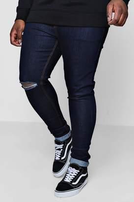 6a784315f45b48 boohoo Big And Tall Above Knee Rip Skinny Jeans