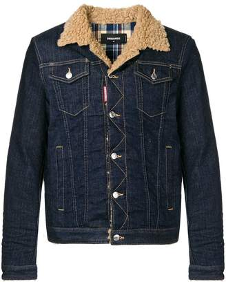 DSQUARED2 shearling collar denim jacket