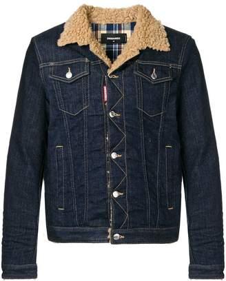 DSQUARED2 shearling collar denim jacket