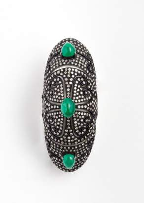 Vinesh Diamonds And Emerald Double Hinge Ring