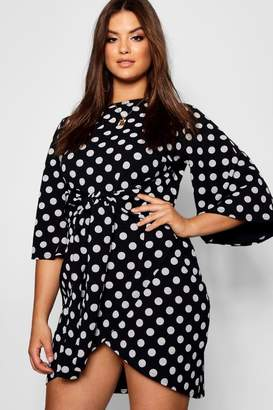 boohoo Plus Kimono Sleeve Polka Dot Tie Waist Dress