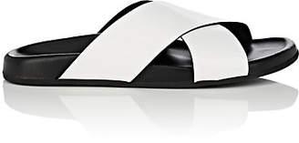 Barneys New York Women's Crisscross-Strap Spazzolato Leather Slide Sandals - White