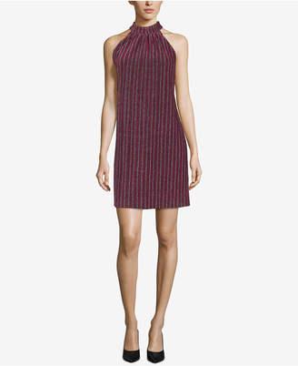 ECI Mock-Neck Metallic Stripe Dress