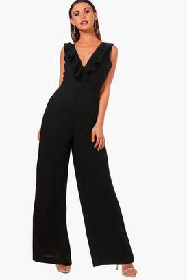boohoo Petite Open Back Ruffle Detail Jumpsuit