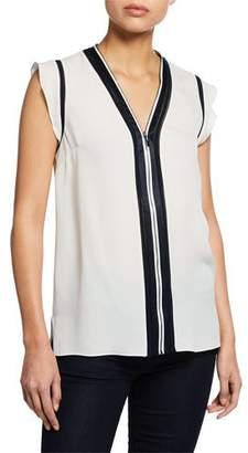 Elie Tahari Priya Zip-Front Cap-Sleeve High-Low Blouse