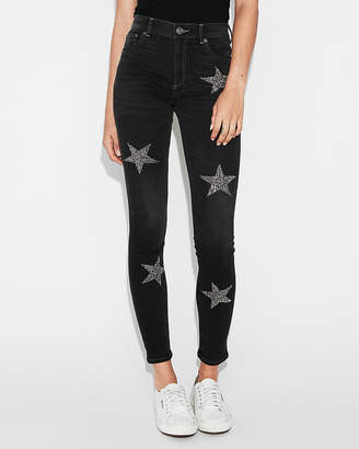 Express High Waisted Star Embellished Stretch Ankle Jean Leggings