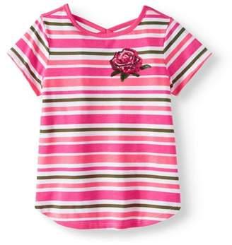 365 Kids From Garanimals Little Girls' 4-8 Short Sleeve Striped Crossback T-Shirt