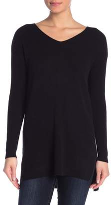Catherine Malandrino V-Neck Ribbed Cashmere Tunic Sweater