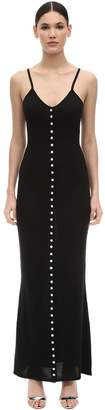 Azzaro Silk & Cotton Jersey Dress W/ Crystals
