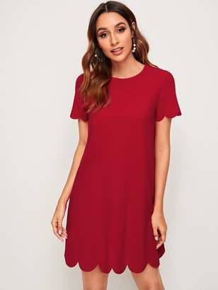 Shein Solid Scalloped Hem Tunic Dress
