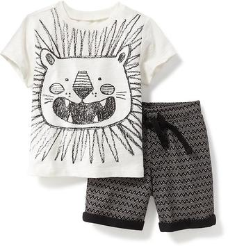 2-Piece Graphic Tee and Printed Shorts Set for Baby $22.94 thestylecure.com