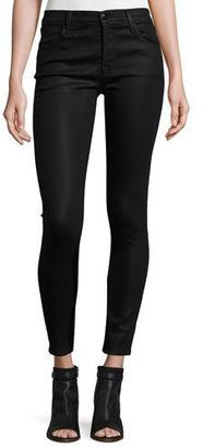 J Brand Mid-Rise Coated Skinny Ankle Jeans, Fearless $240 thestylecure.com