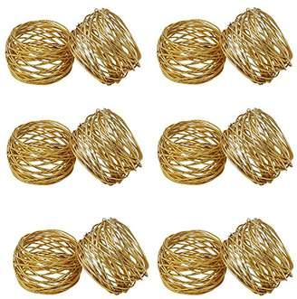 Godinger Set of 12 Gold Round Mesh Napkin Rings