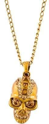 Alexander McQueen Citrine & Crystal Skull Pendant Necklace