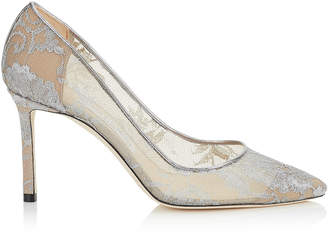 Jimmy Choo ROMY 85 Silver Metallic Lace Pointy Toe Pumps