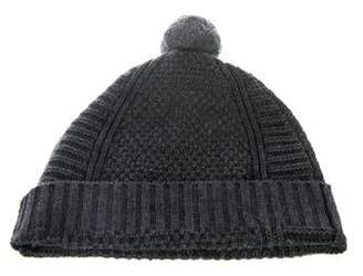 Skull Cashmere Wool Pom-Pom Beanie