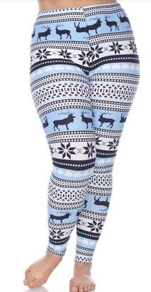 f2974589545b0c White Mark Plus Size Leggings with Deer and Snowflakes - Winter Leggings