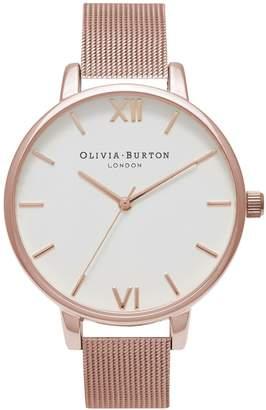 Olivia Burton Analog Big Dial Rose-Goldtone Mesh Bracelet Watch