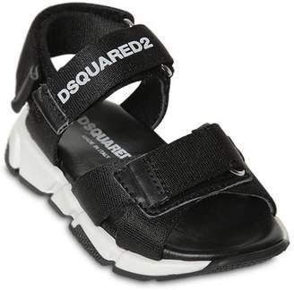 DSQUARED2 Logo Print Leather Sandals