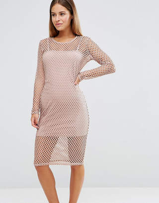 John Zack Petite Grid Mesh Cap Sleeve Bodycon Dress