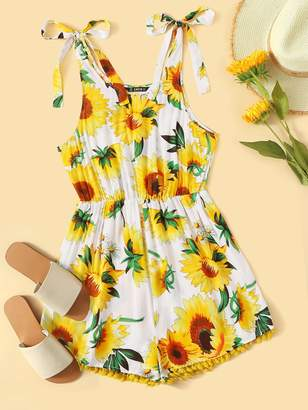 Shein Sunflower Print Self Tie Shoulder Pompom Romper