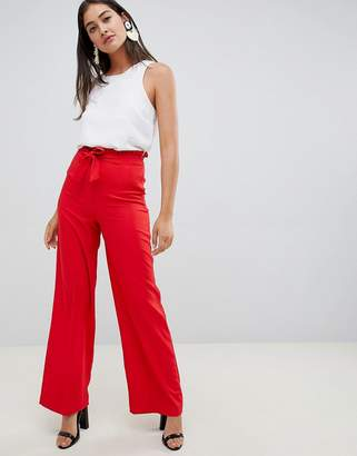 Miss Selfridge wide leg pants with tie waist in red