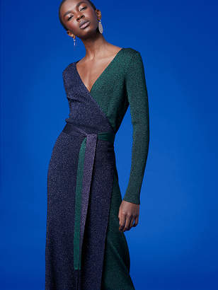 Long-Sleeve Metallic Knit Wrap Dress