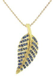 Jennifer Meyer Yellow Gold Blue Sapphire Leaf Necklace