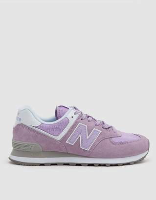 New Balance 574 Suede Sneaker in Violet Glo / White