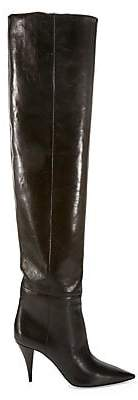 Saint Laurent Women's Kiki Over-The-Knee Leather Boots