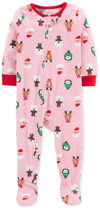 Carter's Baby Girls Holiday-Print Fleece Pajamas