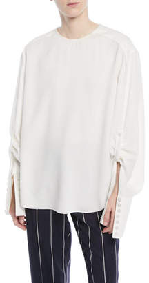 Oscar de la Renta Jewel-Neck French-Cuff Silk Georgette Blouse