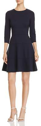 Three Dots Seamed Ponte Fit-and-Flare Dress