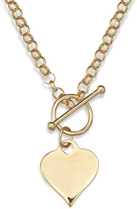 JCPenney FINE JEWELRY 14K Gold Over Sterling Silver Heart Toggle Link Necklace