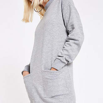 River Island Grey patch pocket sweater dress