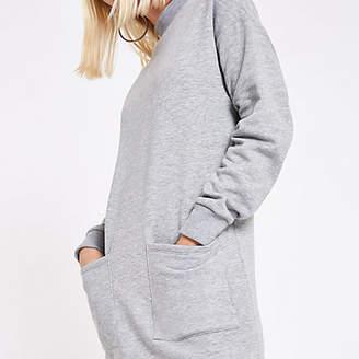 River Island Grey patch pocket sweater dress